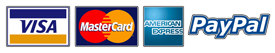 We accept: Visa, Master Card, American Express and PayPal